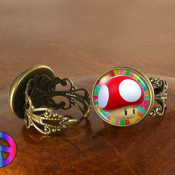 Mario Super Smash Bros Mushroom Game Womens Adjustable Ring Rings Jewelry Gift