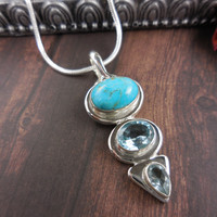 Turquoise & Blue Topaz Sterling Silver Necklace
