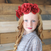 Red Flower Crown Gold Braid Headband