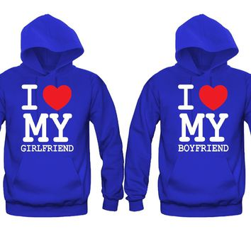 I Love My Boyfriend - I Love My Girlfriend Unisex Couple Matching Hoodies