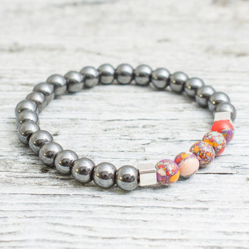 Hematite and colorful beaded stretchy bracelet, mens bracelet, womens bracelet