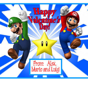 VALENTINE CARD,Super Mario Bros,Mario,Luigi,Birthday card,Valentine favor,personalized