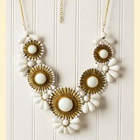 Extravagant Blooms Statement Necklace in White