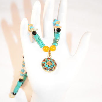 Men's Tibetan Lotus, Turquoise, Yellow Jade, Onyx, Amazonite and Citrine Necklace