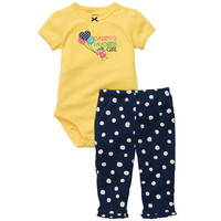 "Carter's Girls ""Daddy's Favorite Girl"" 2 Piece Embroidered Short Sleeved Bodysuit with Applique and Pant Set"