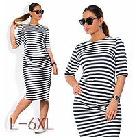 5XL 6XL Large Size 2017 Autumn Summer Dress Big Size Black White Striped Dress Straight Dresses Plus Size Women Clothing Vestido