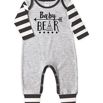 Heather Gray & Black Stripe 'Baby Bear' Playsuit - Infant