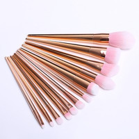 12 Pcs Nylon Facial Eye Lip Makeup Brushes Set  -  ROSE GOLD