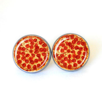 Pepperoni Pizza Earrings, Funny Pizza Jewelry, Pizza Lover, Pizza Gift, 14mm Stud Earrings