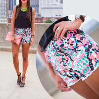 2015 New Summer Shorts Women Ethnic Styles Elastic Waist Beach Women Shorts Hawaii Print Short Plus Size SALE  Free Shipping