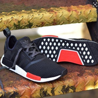 """Adidas"" NMD Trending Fashion Casual Sports Shoes Black red soles"