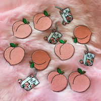 Peach iron on patch set ( 2pcs )