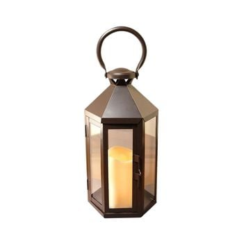 Metal Lantern with LED Candle-Warm Black Hexagon