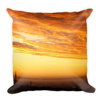Yellow Skyline Decorative Throw Pillow For Couch Chair Bed, Cushion Accent