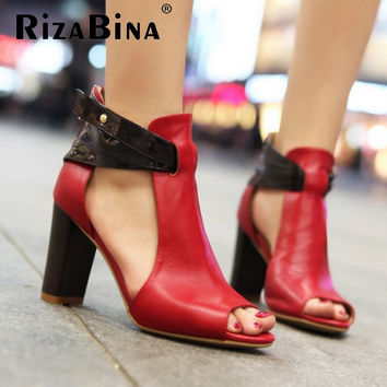Size 32-43 Women's Gladiator Genuine Leather High Heel Sandals Platform Natural Ladies Heels Real Leather Sandals Shoes R233