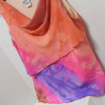 Summer Watercolor Blouse Top Layered Panels with Drape Neck Donna Gray