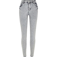 River Island Womens Grey acid wash Lana superskinny jeans