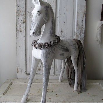 Large Carved Wooden Horse Statue White French Nordic Distressed Sculpture Gray Taupe Tail Shabby Farmhouse Home