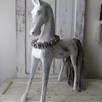 Large carved wooden horse statue white French Nordic distressed sculpture gray taupe tail shabby farmhouse home decor anita spero design