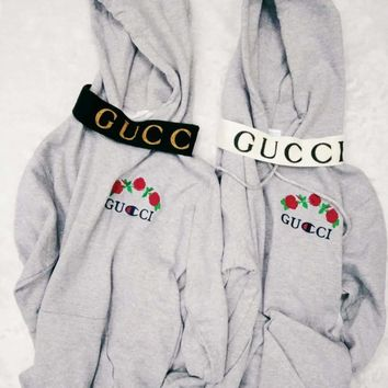 GUCCI : Champion flower rose print sweater grey hoodie pullover Grey And Headband G-1