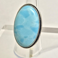 Vtg Sleeping Beauty Turquoise Ring / Large Oval Cloudy Light Blue Stone / Cabochon Gem in Silver Setting / Southwestern Boho Navajo Jewelry