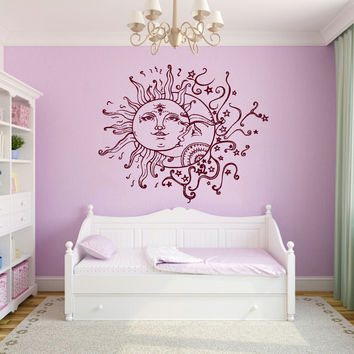Wall Decal Sun Moon Crescent Dual Ethnic Stars Vinyl Sticker Bedroom Decor KG762