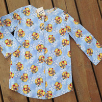 Children's Pyjama ( Handmade Flannel Night Shirt with Ducks & Snowflakes ) - children's size 3