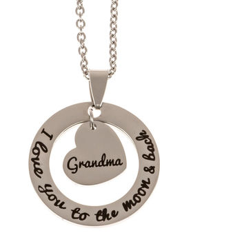 Stainless Steel Charm Necklace I Love You to the Moon and Back  - Grandma