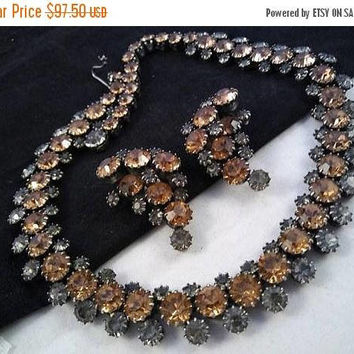 ON SALE Vintage KRAMER Rhinestone Demi Parure, 1950's 1960's Collectible Retro Rockabilly Mad Men Mod High End Well Made Necklace Earring Se