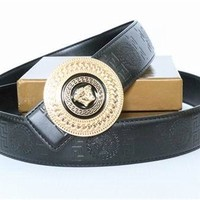 VERSACE Collection Black Leather Medusa Gold Buckle Adjustable Reversible Versace Belt