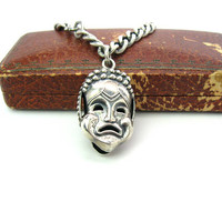 Mask Charm Bracelet. Sterling Silver Comedy Tragedy Greek Theater. Double Sided Fob Embossed Faces. Weighty Curb Chain Vintage 1950s Jewelry