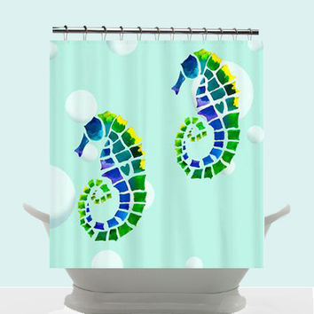 Ocean Seahorse Shower Curtain - Seahorse Twins - Watercolor Art, Surf, beach, surfer, blue, teen decor, bathroom