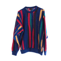 COOGI Sweater 80s 90s Multicolor COSBY Pure Wool