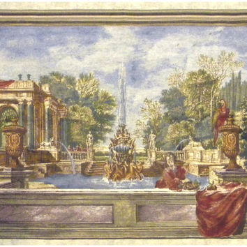 Italian Garden with Parrot Tapestry Wall Art Hanging