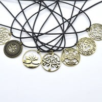 23mm Antique Bronze Om Celtics Knot Viking Lotus Dream Catcher Tree of Life Pendant Chocker Necklace with 50cm Chain