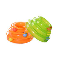Funny Pet Kitty Cat puppy dog Toy Trilaminar Petstages Tower of Tracks Ball Disk   Green