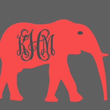 "University of Alabama 7"" Vinyl Car Decal - Monogram Roll Tide - Personalized Crimson Tide Elephant"
