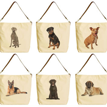 I Love Dog Various Breed Beige Printed Canvas Tote Bag with Leather Strap WAS_29