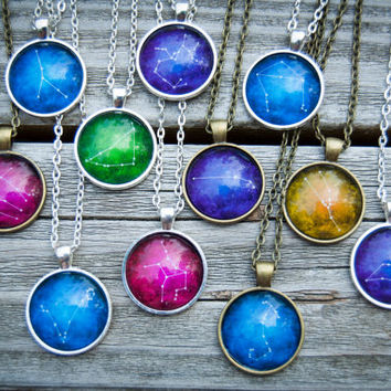 Zodiac Sign Necklace / Astrology Necklace / Constellation Star Sign Necklace