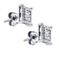 Diamond Fashion Earrings in White Gold-plated silver 0.1 ctw