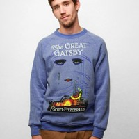 Out of Print Great Gatsby Vintage Inspired Blue Crew Neck Sweatshirt