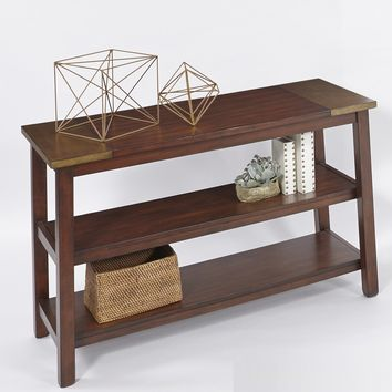 Sydney Transitional Sofa/Console Table Dark Ash/ Copper Metal