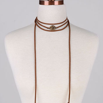 Double Feather Charm Long Suede Cord Wrap Choker Necklace - Brown