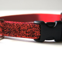 Red Sparkle Dog Collar Adjustable Sizes (XS, S, M)