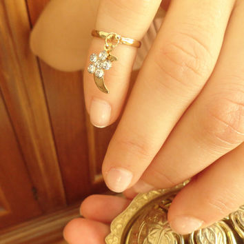 Above the knuckle ring, moon and flower ring, arabic turkish jewelry, adjustable ring, best friend birthday gift, gifts for women
