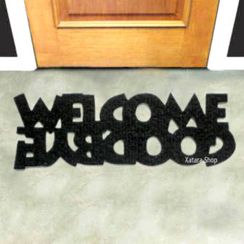 Custom rug, doormat with double message: Welcome / Goodbye