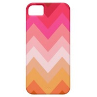 Modern Girly Red Pink Coral Ombre Chevron Pattern