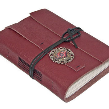 Burgundy Leather Wrap Journal with Lined Paper and Cameo Bookmark