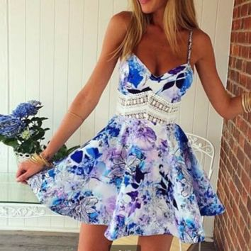 SEXY STRAPLE HOT LACE WAIST HOLLOW OUT DRESS
