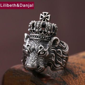 Men Ring 100% Real 925 sterling silver Jewelry Vintage Animal Lion Crown Cross LOVR Christmas Gift MR11